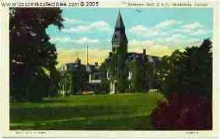 1940s Anderson Hall KSC Manhattan Kansas Linen Postcard Unused