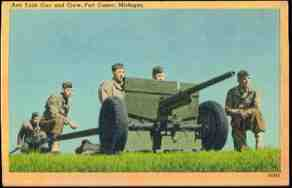 1944 WWII US Army Anti Tank Gun Fort Custer Linen Postcard