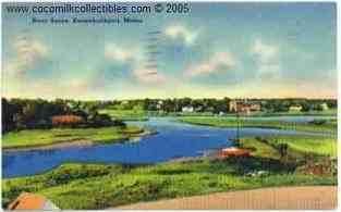 1941 River Scene Kennebunkport Maine Linen Postcard