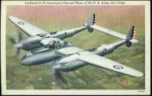 1940s US Army Air Corp P-38 Interceptor Pursuit Plane Postcard