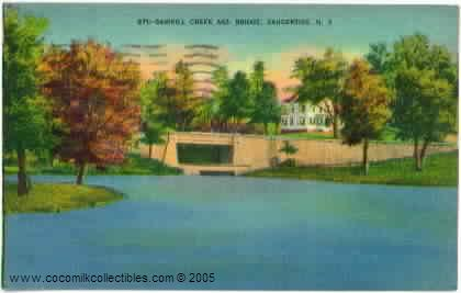 1943 Sawkill Creek and Bridge Saugerties NY Postcard Vintage Lin