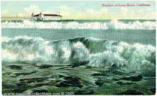 Long Beach California Breakers Pier 1910s Postcard