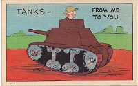 Military Funny Linen Postcard 1940s
